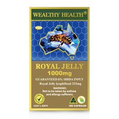 Wealthy Health Royal Jelly 1000mg Guaranteed 6% 10HDA 365 Capsules