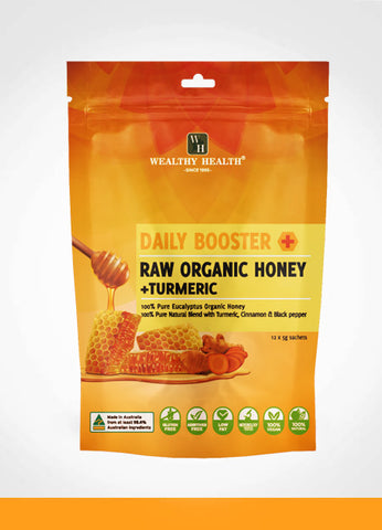 Wealthy Health Daily Booster Raw Organic Honey + Turmeric