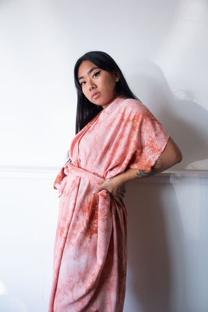 Hand-Dyed High Low Kimono Terracotta
