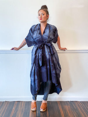 Hand-Dyed High Low Kimono Soft Black Lines