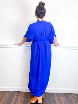 Solid High Low Kimono Royal Blue Double Crepe