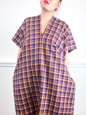 Plaid Smock Dress Grey Maroon Mustard