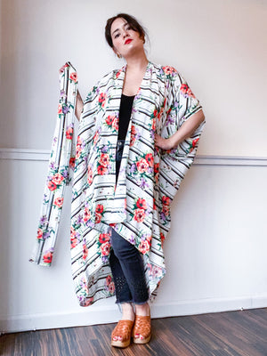 Print High Low Kimono Rose Stripes