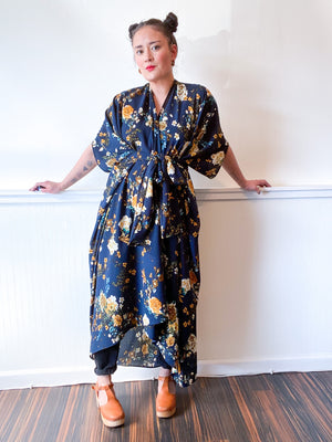 High Low Kimono Navy Yellow Floral Bubble Crepe