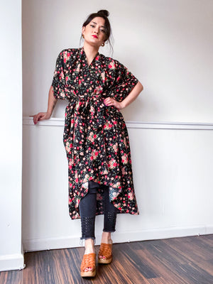 Print High Low Kimono Black Mini Red Rose Floral