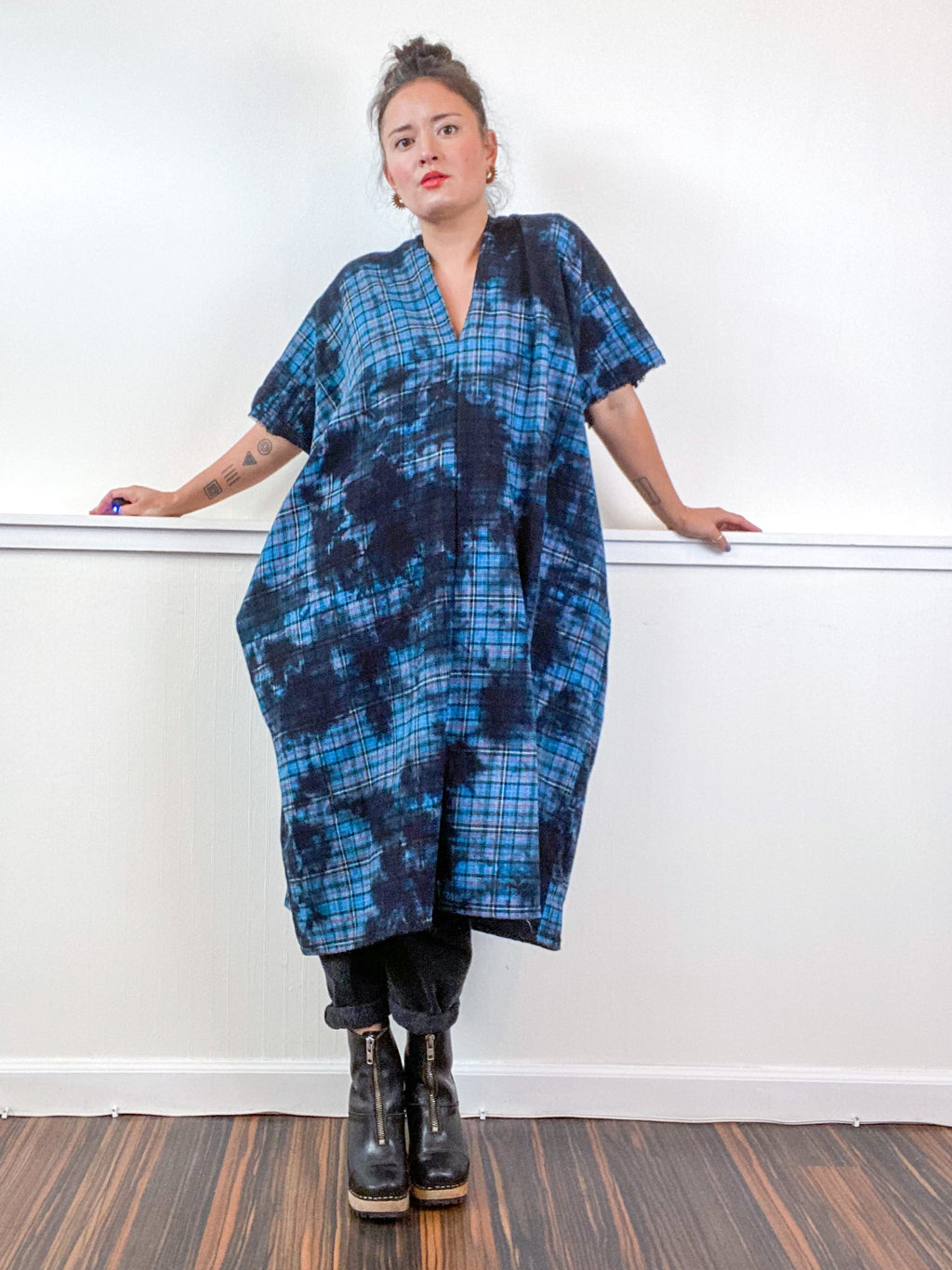 Over-Dye Plaid Smock Dress Turquoise Black Midi