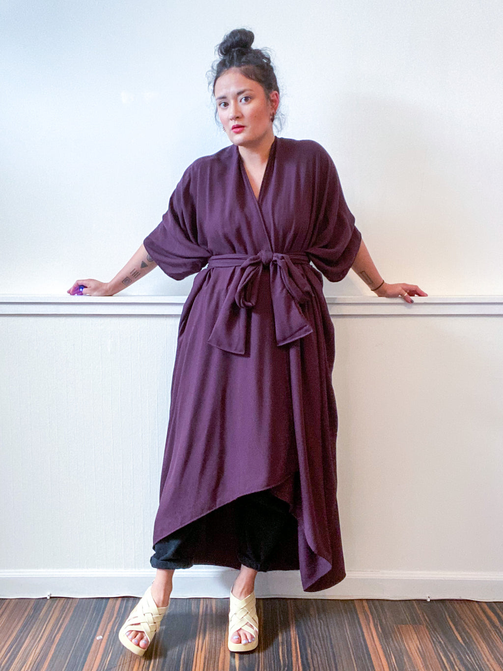 Solid High Low Kimono Plum Rayon Twill