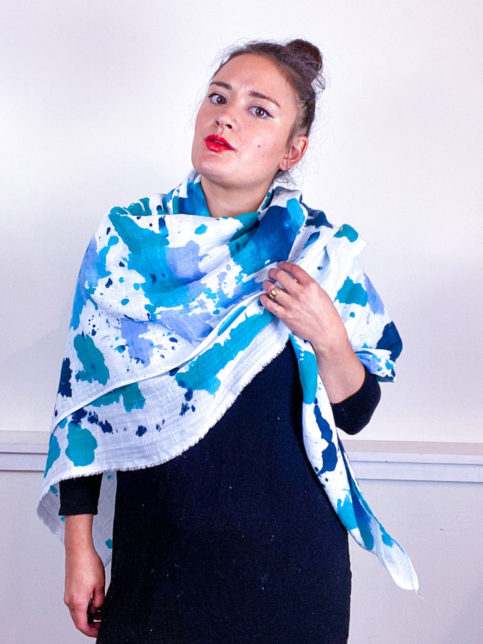 Hand-Dyed Large Square Scarf Teal Parakeet Baby Blue Aqua