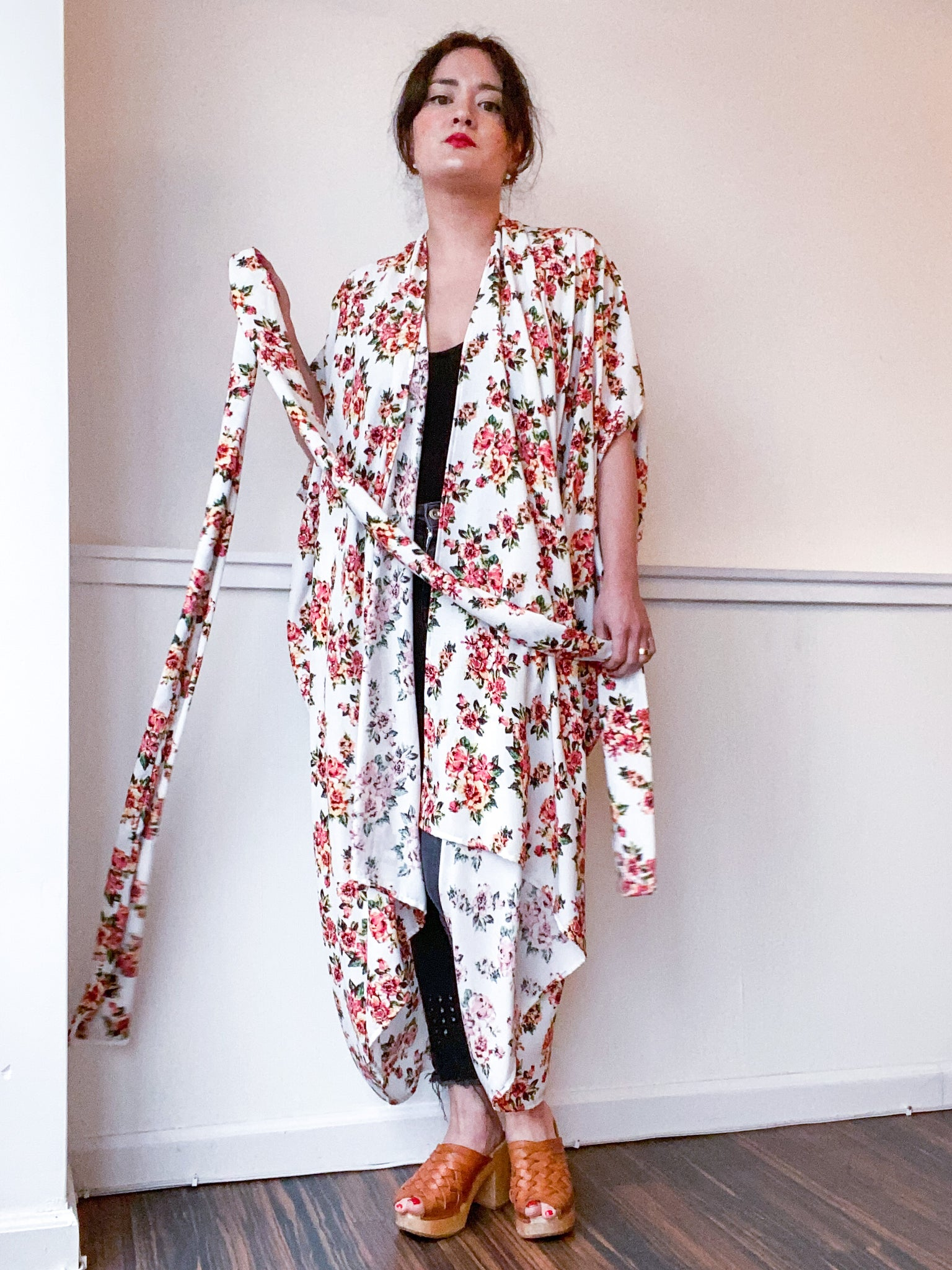 Print High Low Kimono Ivory Coral Floral Clusters