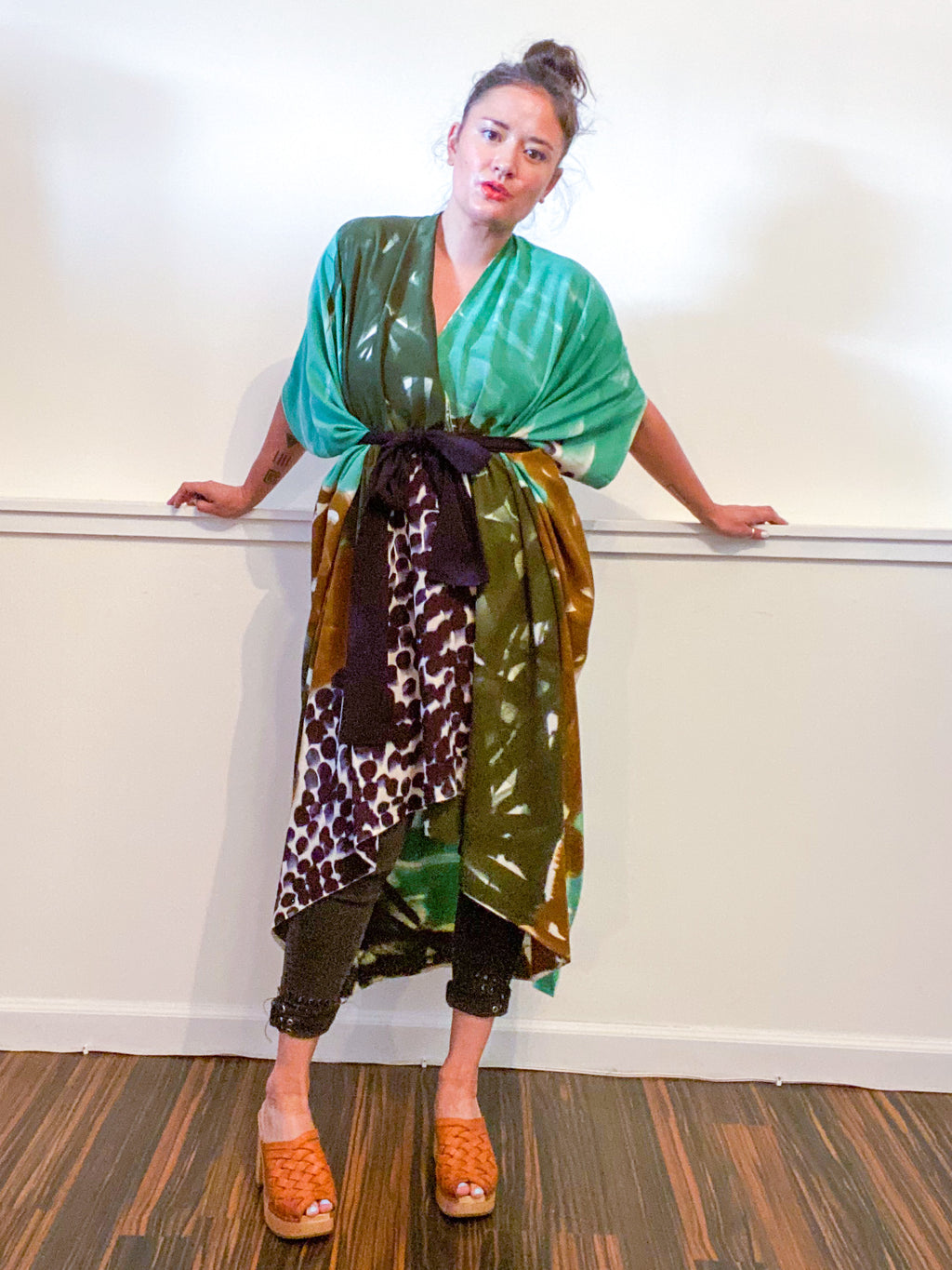 Limited Edition Hand-Dyed High Low Kimono Forest Sea Black Bronze