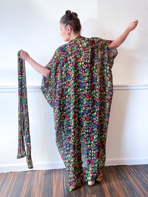 Print High Low Kimono Black Multicolor Floral Crinkle Chiffon