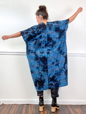 Over-Dye Plaid Smock Dress Turquoise Black