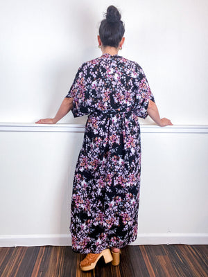 Print High Low Kimono Black Purple Wildflower Bubble Crepe