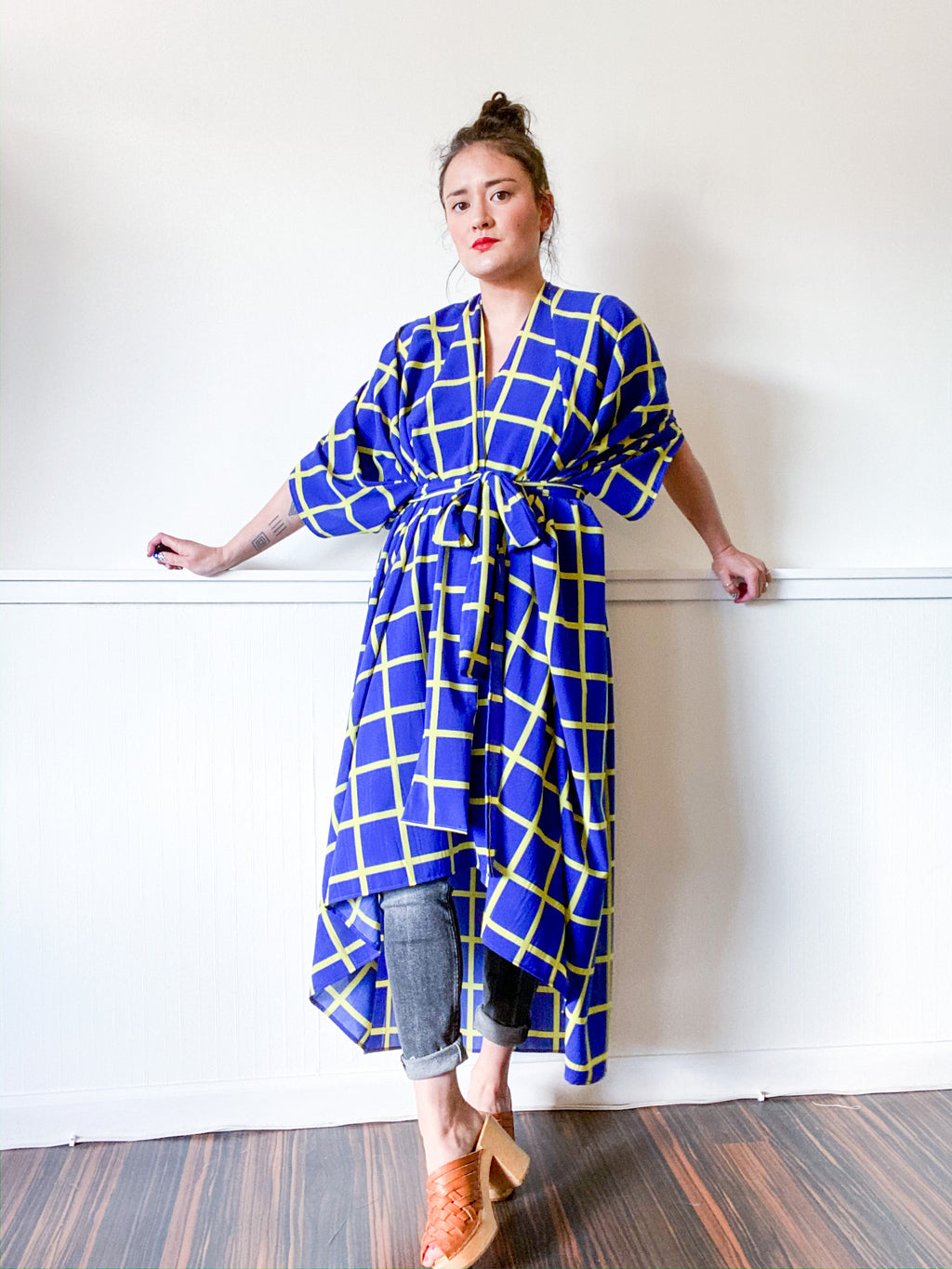 Print High Low Kimono Royal Blue Citron Windowpane