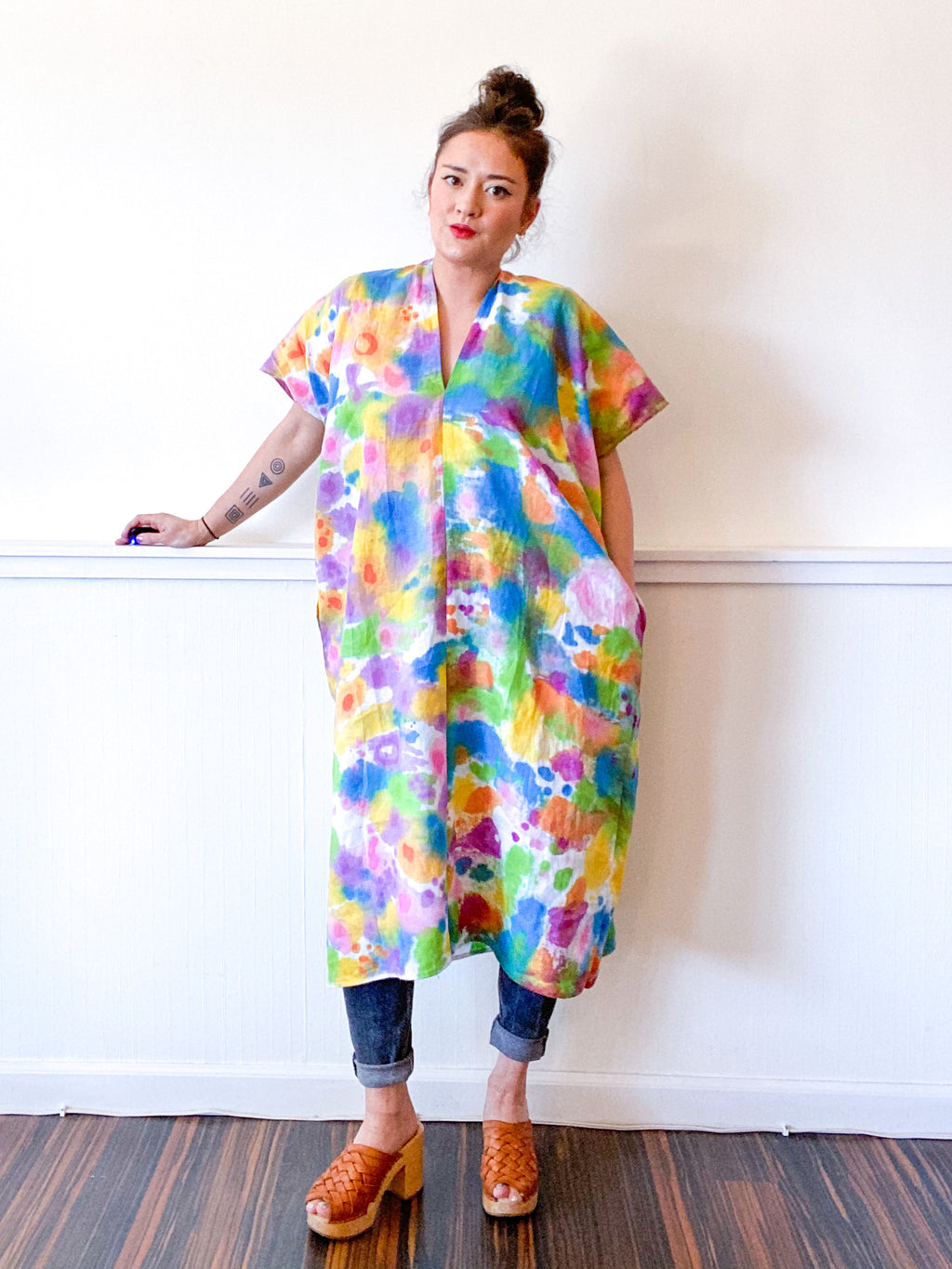 Hand-Dyed Linen Smock Dress Rainbow Watercolor