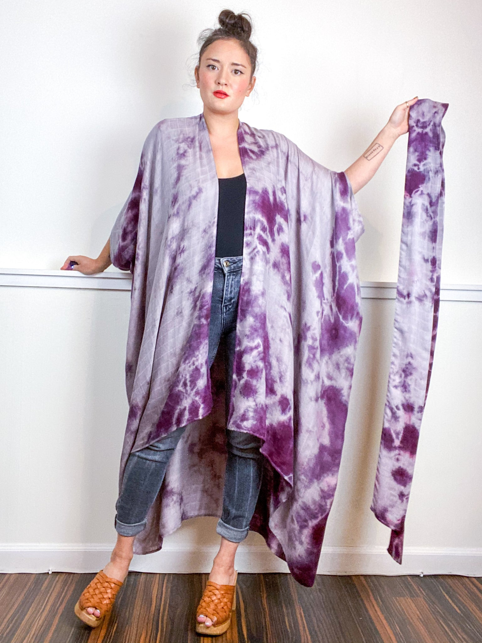 Hand-Dyed High Low Kimono Bamboo Black Cherry