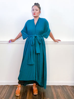 Solid High Low Kimono Teal Knit