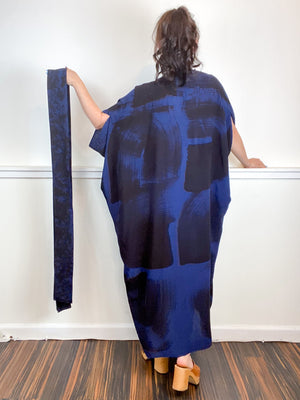 Hand-Dyed High Low Kimono Navy Black Brushstroke