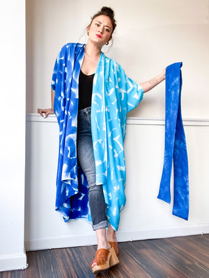 Limited Edition Hand-Dyed High Low Kimono Turquoise Royal