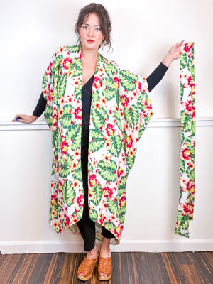 Print High Low Kimono White Tropical Rayon Challis