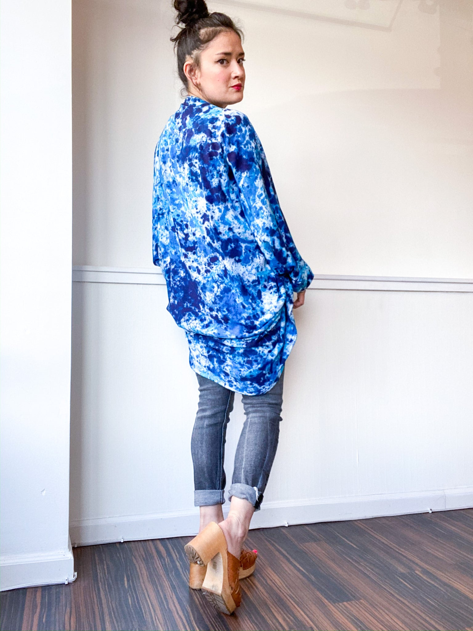 Hand-Dyed Waterfall Kimono Speckle Royal Blue