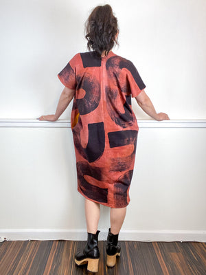 Hand-Dyed Sweatshirt Smock Dress Terracotta Black Brushstrokes