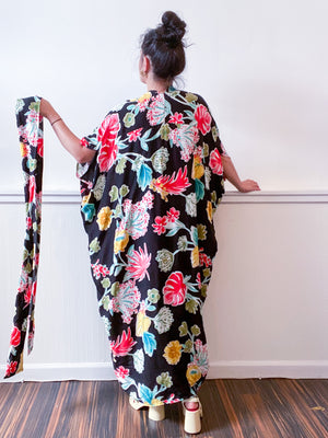 Print High Low Kimono Black Tropical Rayon Challis