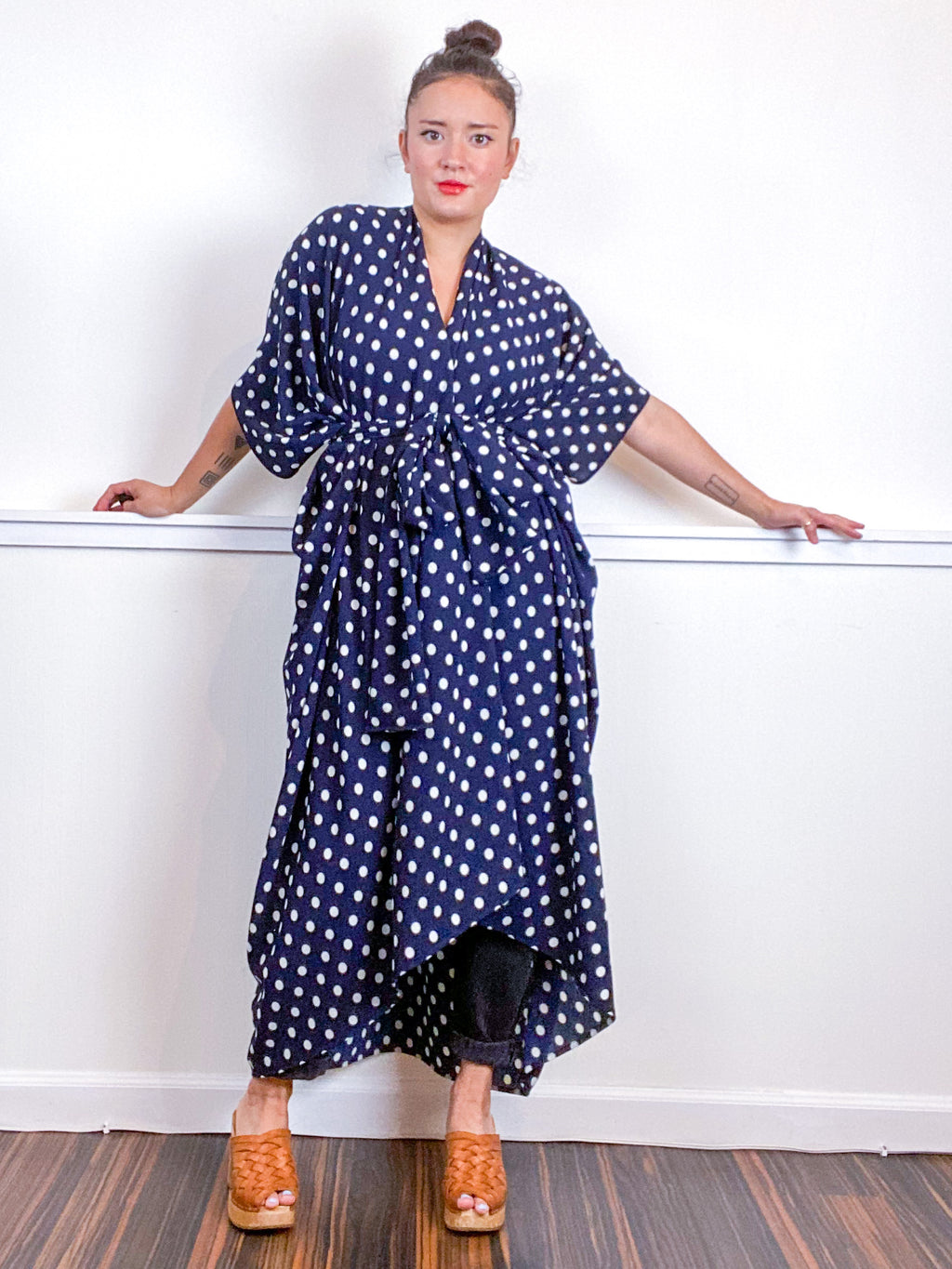 Print High Low Kimono Navy Polka Dots Bubble Crepe