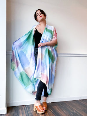 Limited Edition Hand-Dyed High Low Kimono Pastel Watercolor