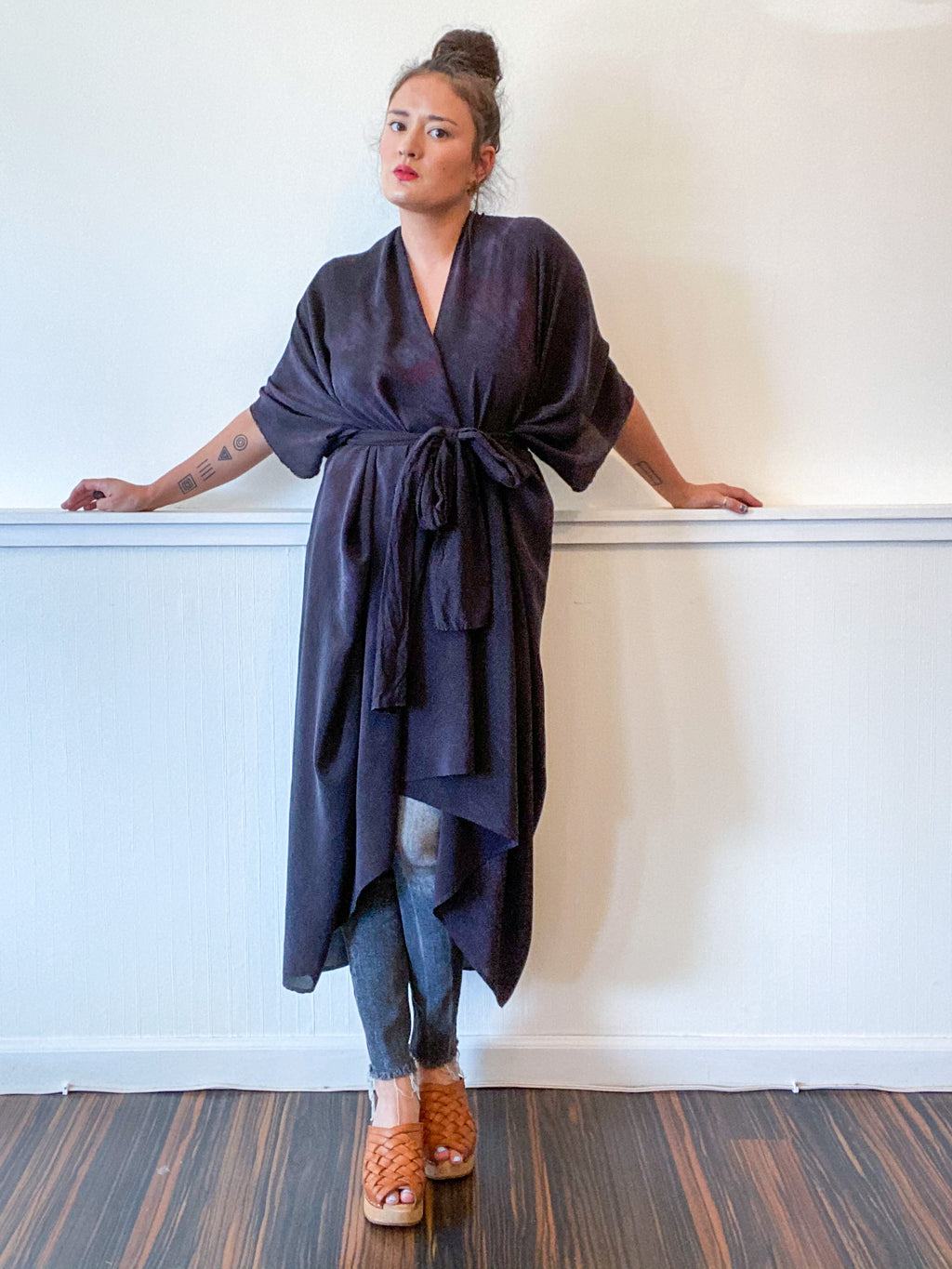 Hand-Dyed High Low Kimono Black Over Dye Silk