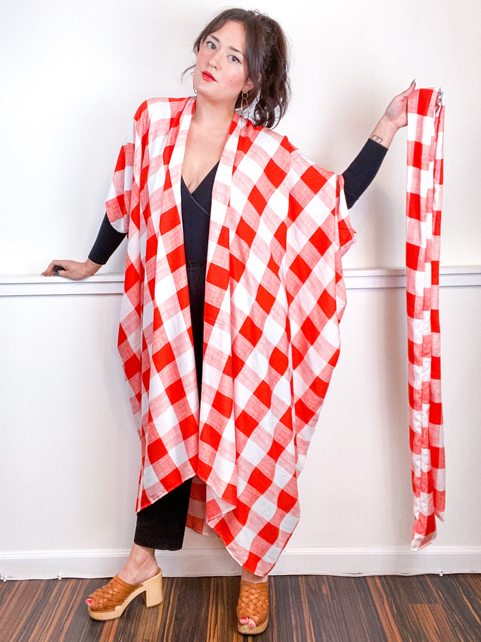 Print High Low Kimono Orange White Checker Rayon Challis