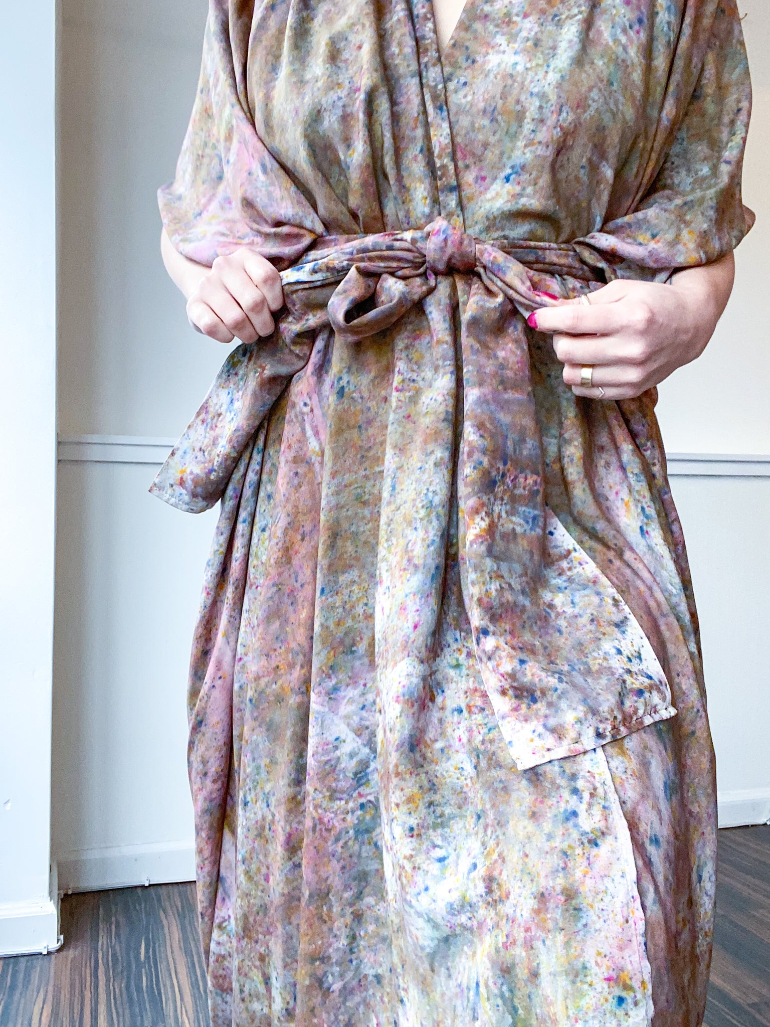 Hand-Dyed High Low Kimono Deconstructed Amber