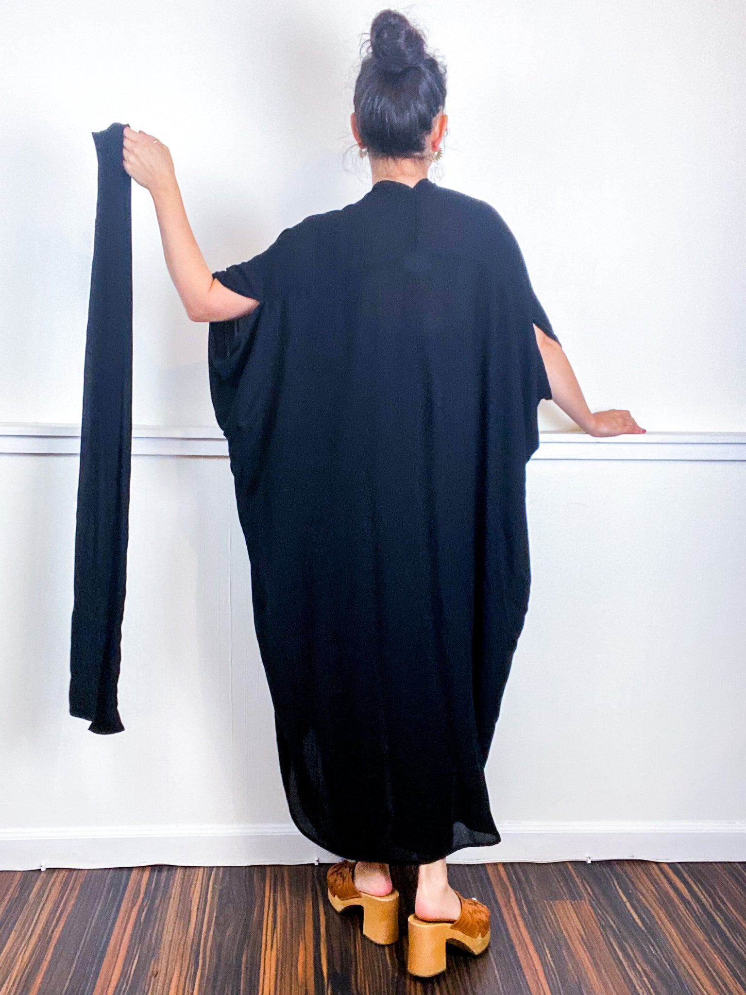 Solid High Low Kimono Black Rayon Crepe