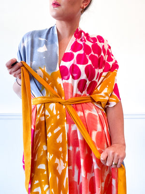 Limited Edition Hand-Dyed High Low Kimono Multicolor