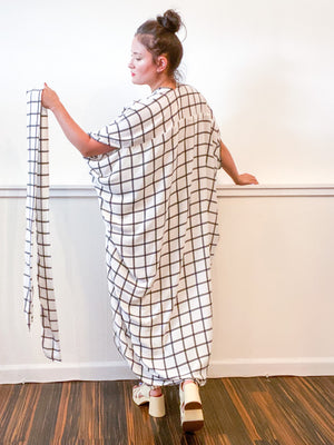 Print High Low Kimono Ivory Windowpane Rayon Challis