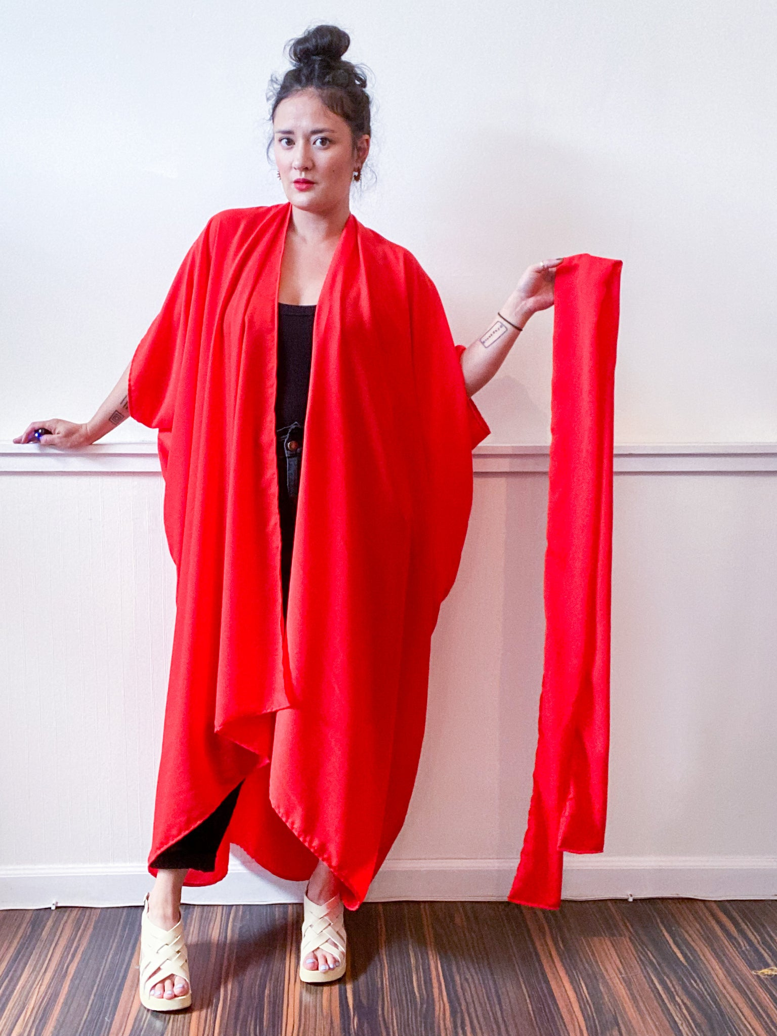 Solid High Low Kimono Scarlet Crepe de Chine