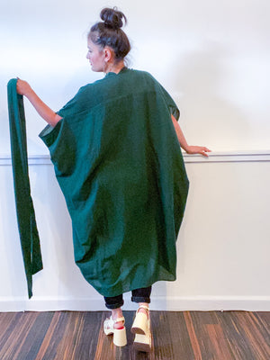 Solid High Low Kimono Hunter Green Cotton Gauze