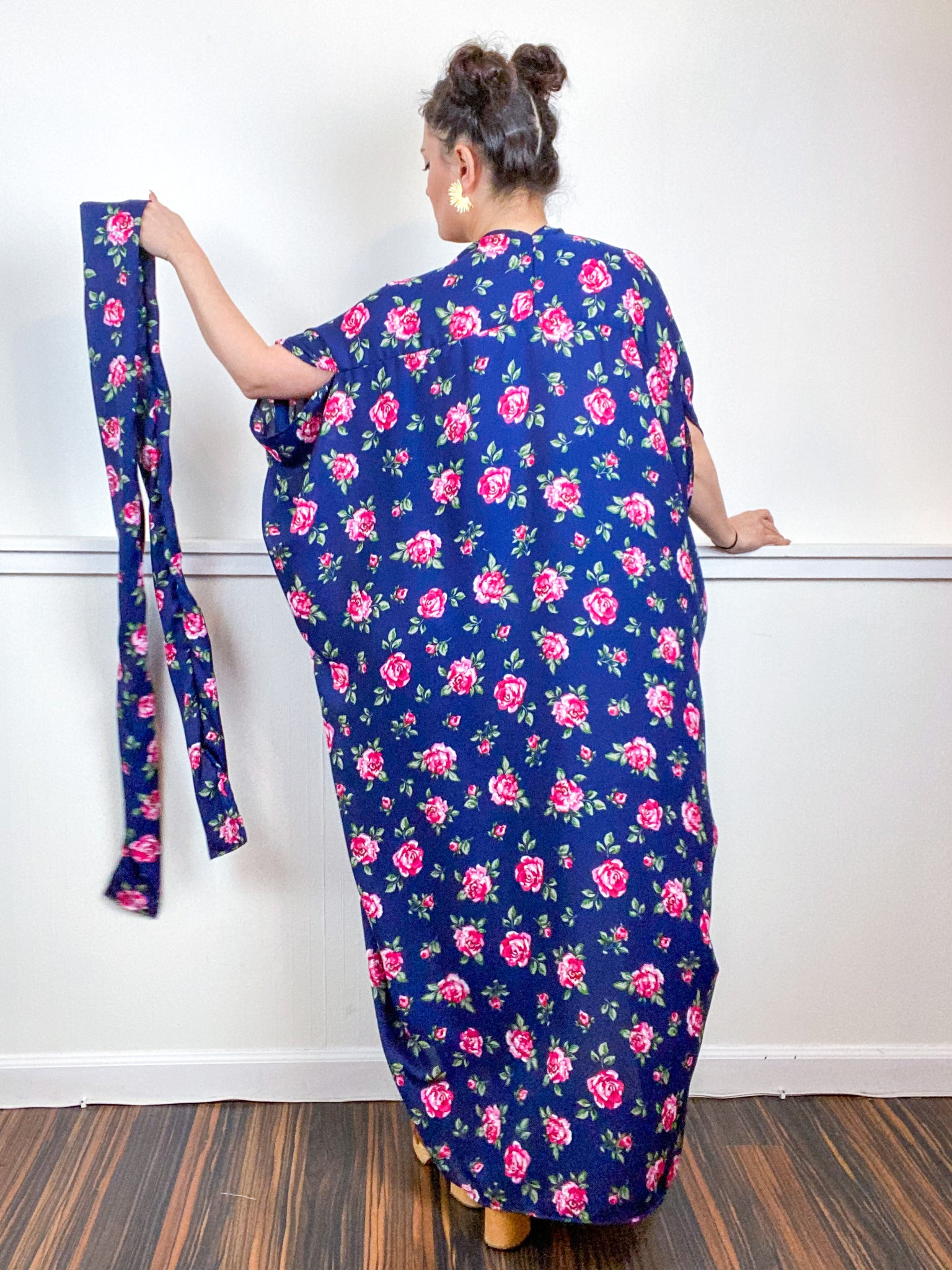 Print High Low Kimono Navy Pink Rose Satin
