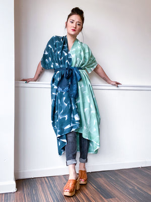 Limited Edition Hand-Dyed High Low Kimono Celadon Teal