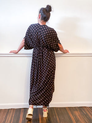 Print High Low Kimono Black Maroon Dots Slinky Knit