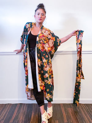 Print High Low Kimono Forest Green Rose Floral Knit