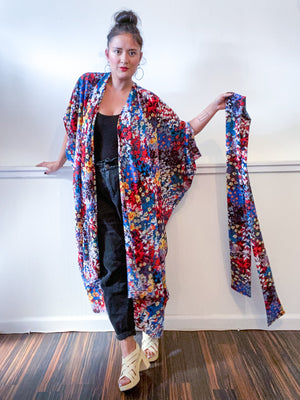 High Low Kimono Multicolor Wildflower Bubble Crepe