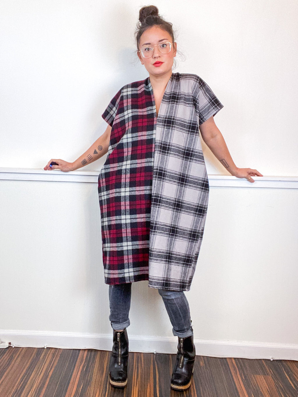 Plaid Smock Dress Maroon Grey