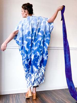 Limited Edition Hand-Dyed High Low Kimono Blue Ombré