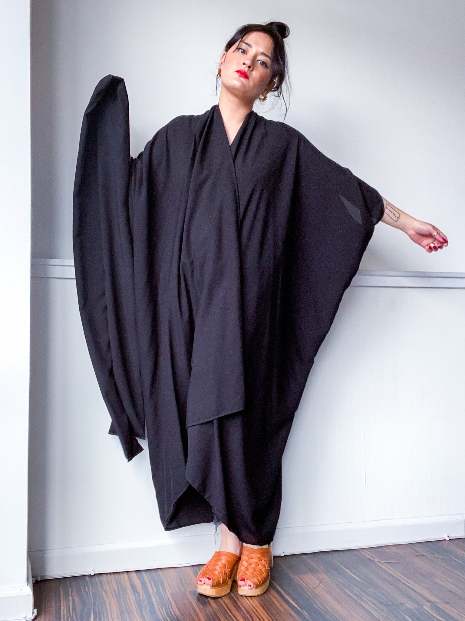 Solid High Low Kimono Black Rayon Challis
