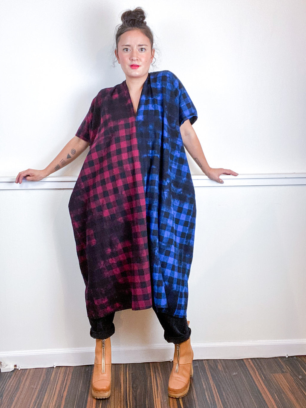Over-Dye Plaid Smock Dress 2-Tone Blue Red Black Midi