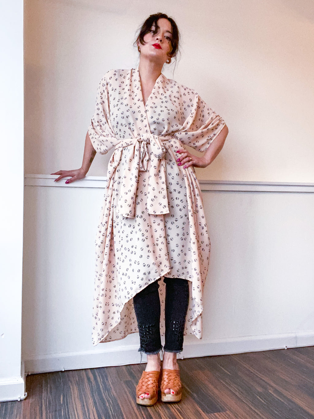Print High Low Kimono Peach Dots
