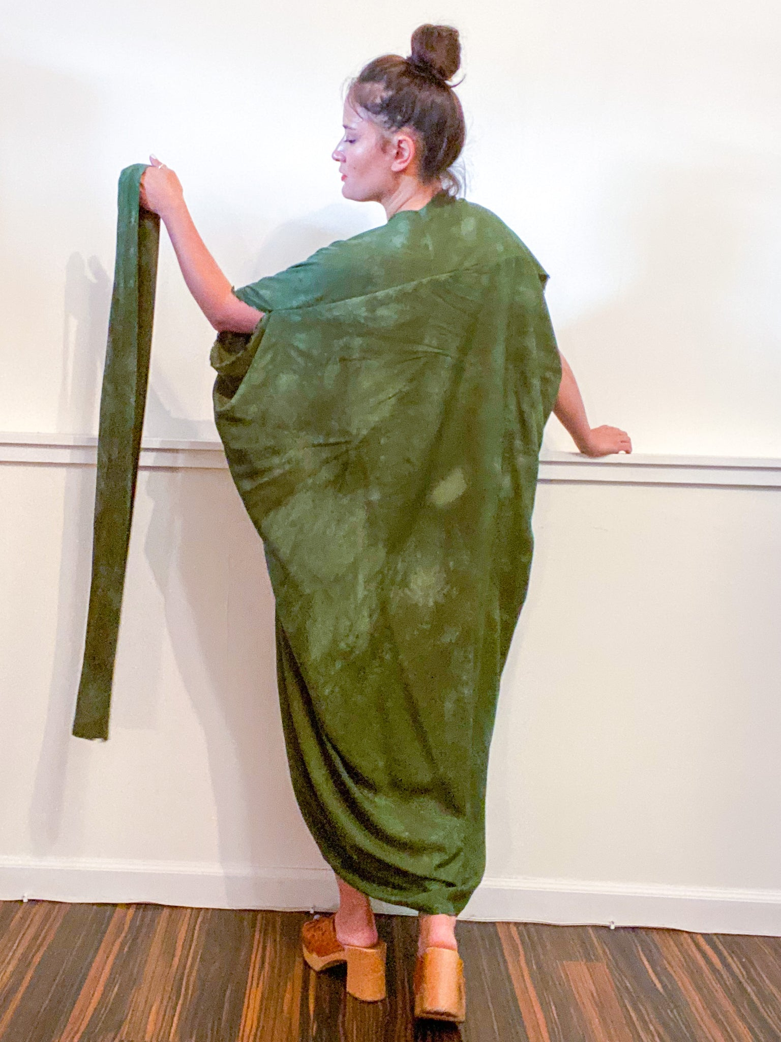 Hand-Dyed High Low Kimono Almost Solid Green