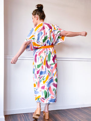 Limited Edition Hand-Dyed High Low Kimono Confetti 1