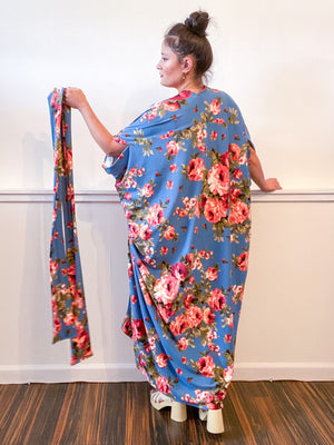 Print High Low Kimono Blue Rose Knit